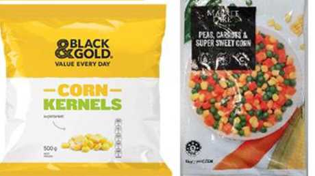 Black and Gold corn kernels and Market Fare peas, carrots and super sweet corn. Picture: Supplied