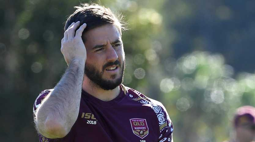 Ben Hunt looks on during the Queensland State of Origin team training session at Sanctuary Cove.