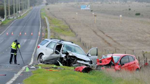 The scene of a two-car accident on Hopkins Rd at Truganina where a 10-year-old girl was killed. Picture: Andrew Henshaw