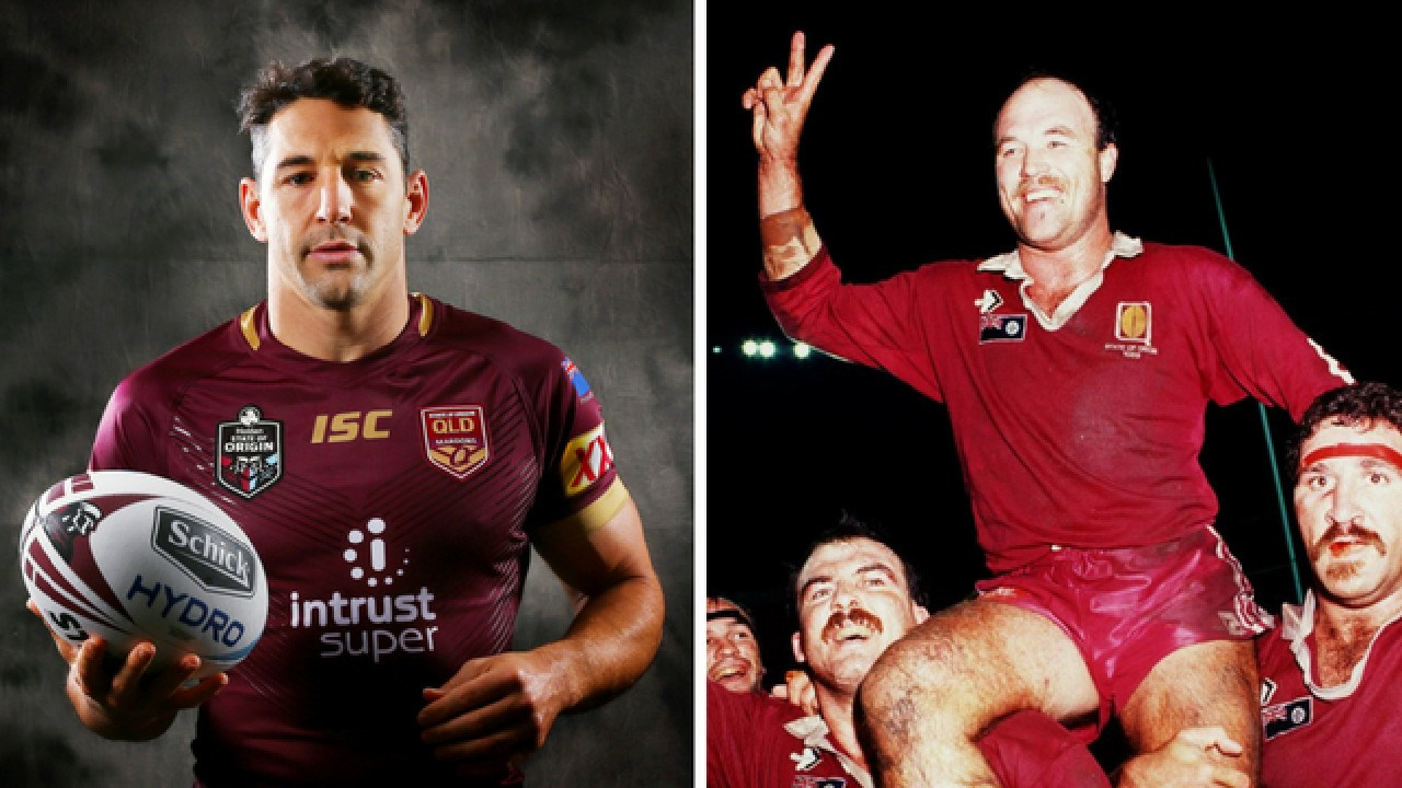 Retiring Maroons fullback Billy Slater and Origin legend Wally 'The King' Lewis.