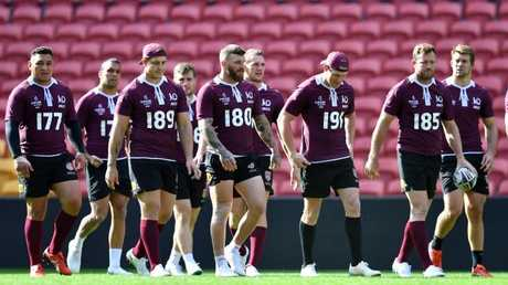 The Queensland team prepare for game three of the 2018 State of Origin series against New South Wales on Wednesday. Picture: Darren England/AAP