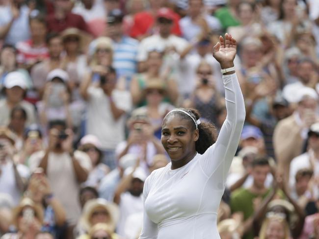 Serena Williams salutes the centre court crowd.