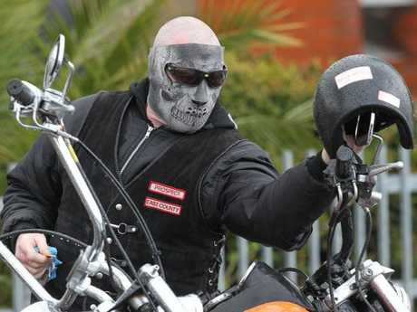 A Hells Angel at Macchour Chaouk's funeral at Preston Mosque.