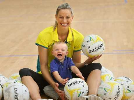 Laura Geitz with Barney at an Australian netball camp at the AIS earlier this year. Pic: Kym Smith