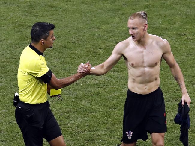 Croatia's Domagoj Vida (R) has also found himself drawn into the pro-Ukraine scandal. Pic: AP