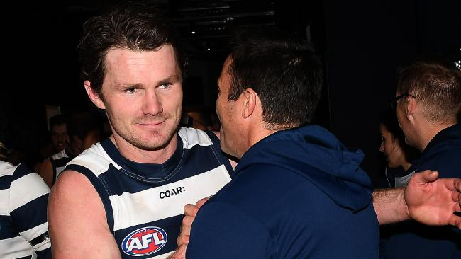 Patrick Dangerfield and Chris Scott are not impressed with the AFL draw. Picture: AAP Images