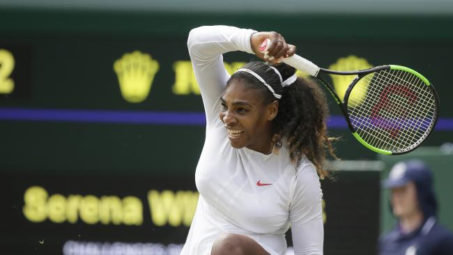 Serena Williams charged into the Wimbledon quarterfinals with an easy win over a Russian qualifier.