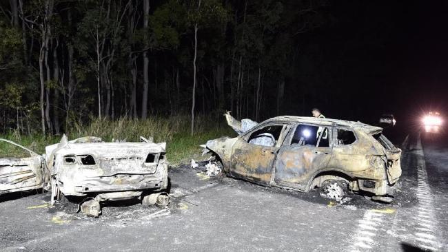 The scene of the firey crash near Tiaro. Picture: Alistair Brightman