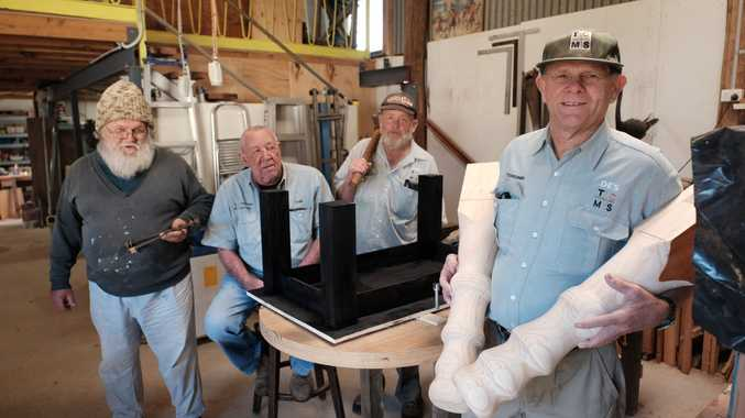 Col Walpole, Don Moore, Lionel Noll, and Des Shore at the Toowoomba City Men's Shed. 100718