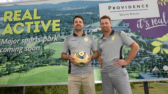 ACTIVE PLANS: Ripley FC officials Nick Paterson (left) and Brodie Kenyon are keen to see a new football club catering for families in the closeknit community.