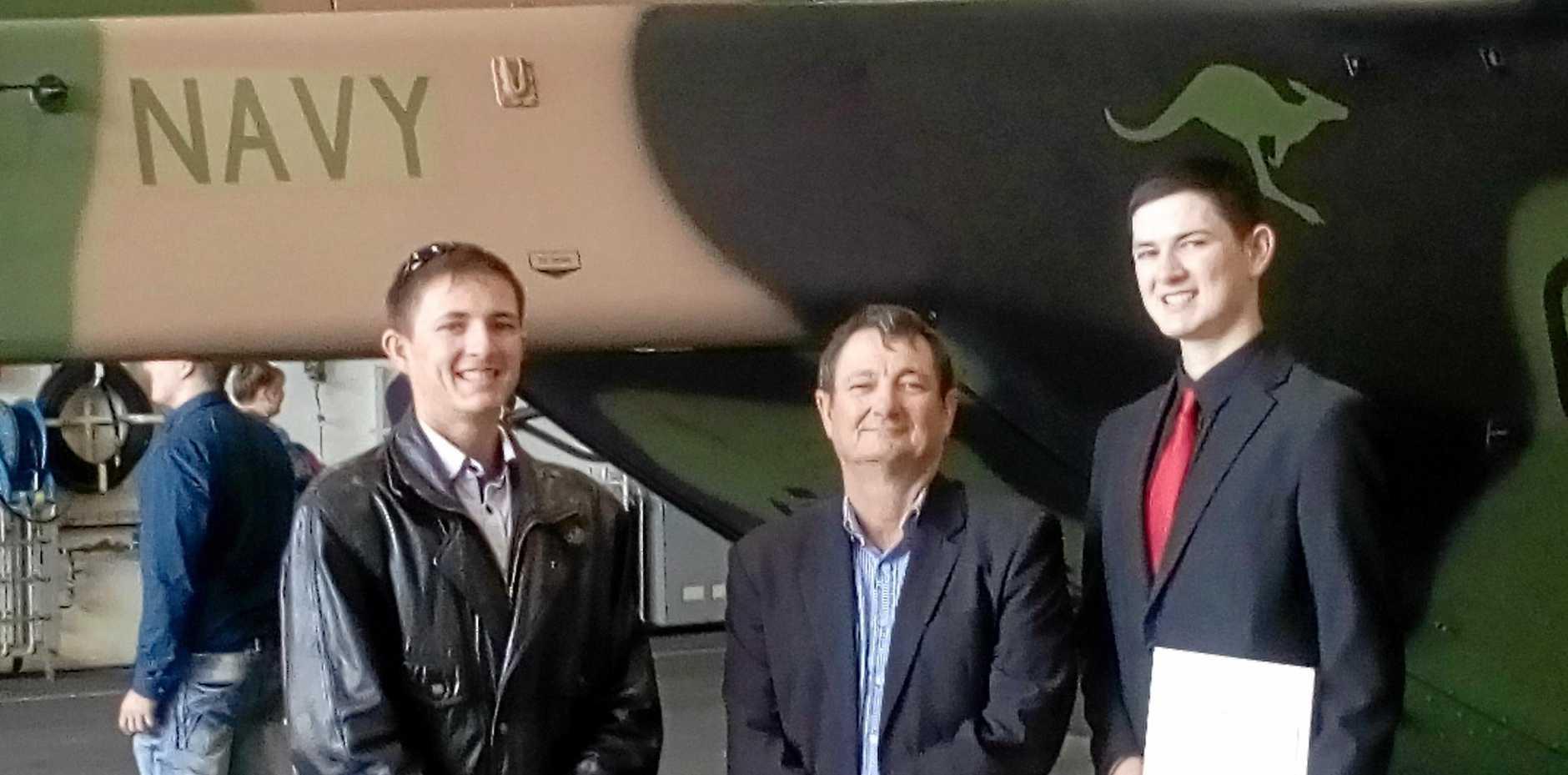 FAMILY TIES: Adrian, 'Tex', and Daniel Heuston at Daniel's enlistment ceremony.