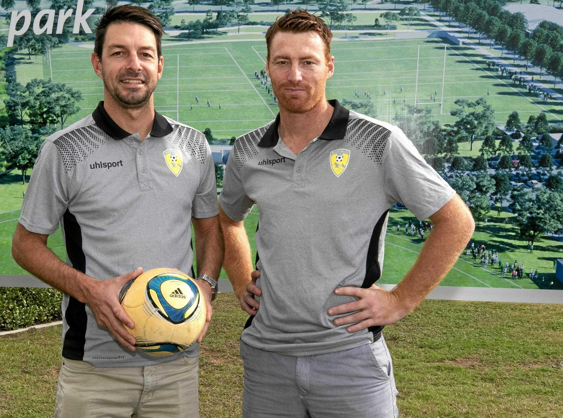 Ripley FC officials Nick Paterson (left) and Brodie Kenyon.