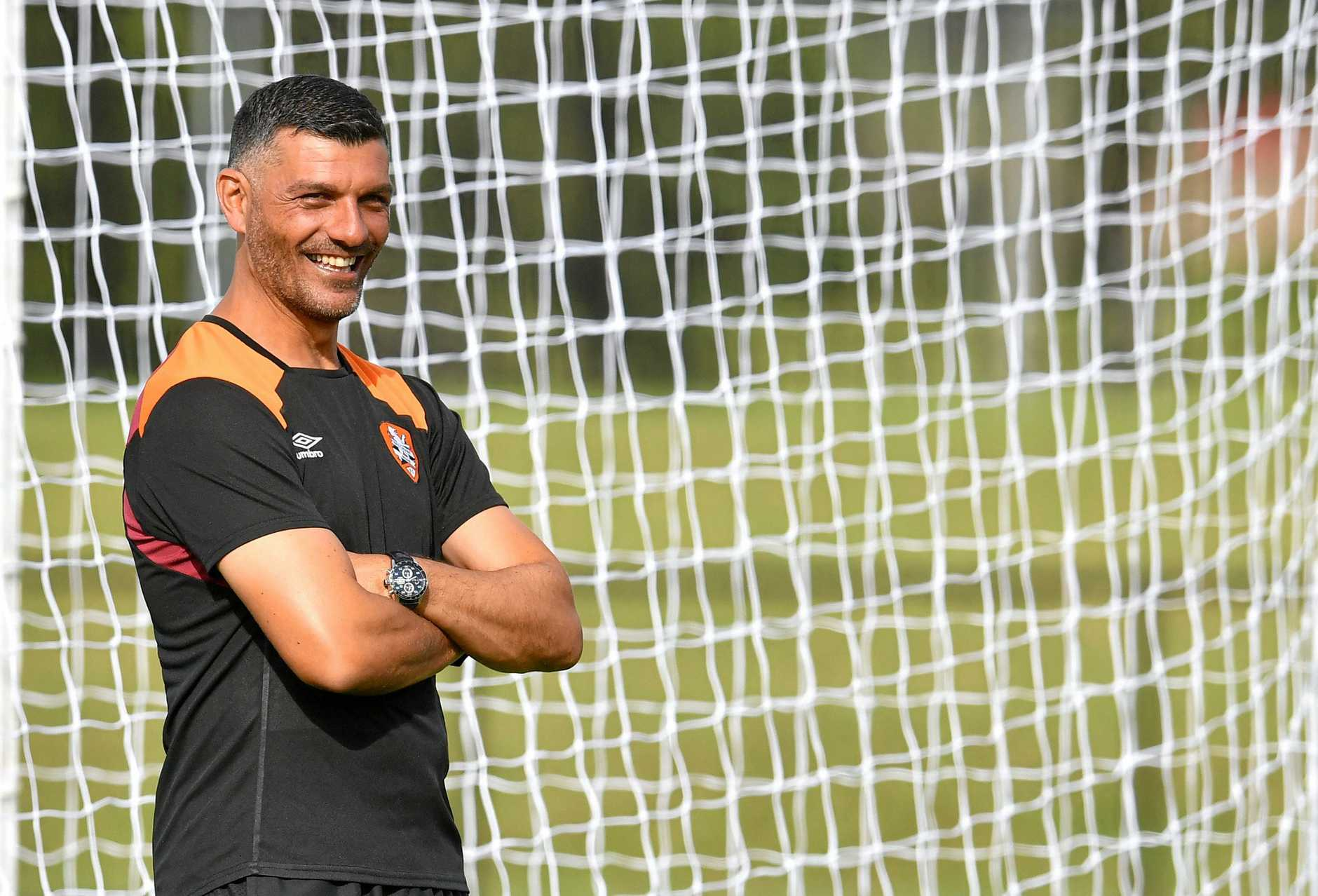 Roar coach John Aloisi is seen during Brisbane Roar training at Logan Metro Sports Park in Logan City, Saturday, March 24, 2018. Brisbane will take on the Wellington Phoenix in their Round 24 A-League clash on Sunday in Wellington. (AAP Image/Darren England) NO ARCHIVING
