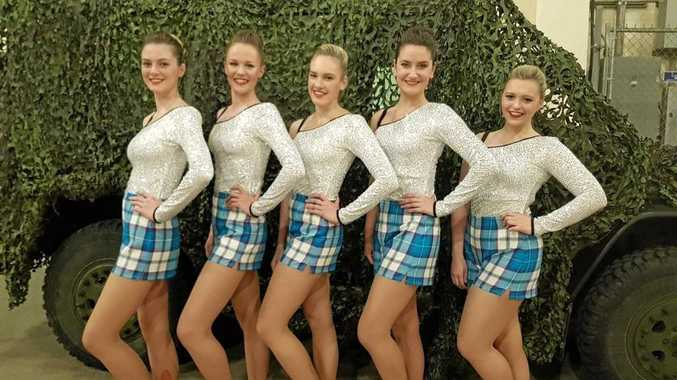 DANCING SUCCESS: Hannah Hughes (second on the left) has recently returned from Canada after dancing over there.