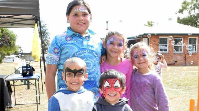 Back: Maddison Thomas, Lilliana Widgell, Jahtaya Williams. Front: Jase Mitchell, and Noah Mitchell at the Chinchilla NAIDOC Week celebrations at the Chinchilla Hospital.