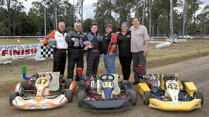 NEED FOR SPEED: Ipswich City Dirt Kart Club members Barry, Stephen and Josh Reberger, president Peter Parker, secretary Angela Formosa and founding member Bob Gartside are preparing to celebrate the club's 20th anniversary this weekend.