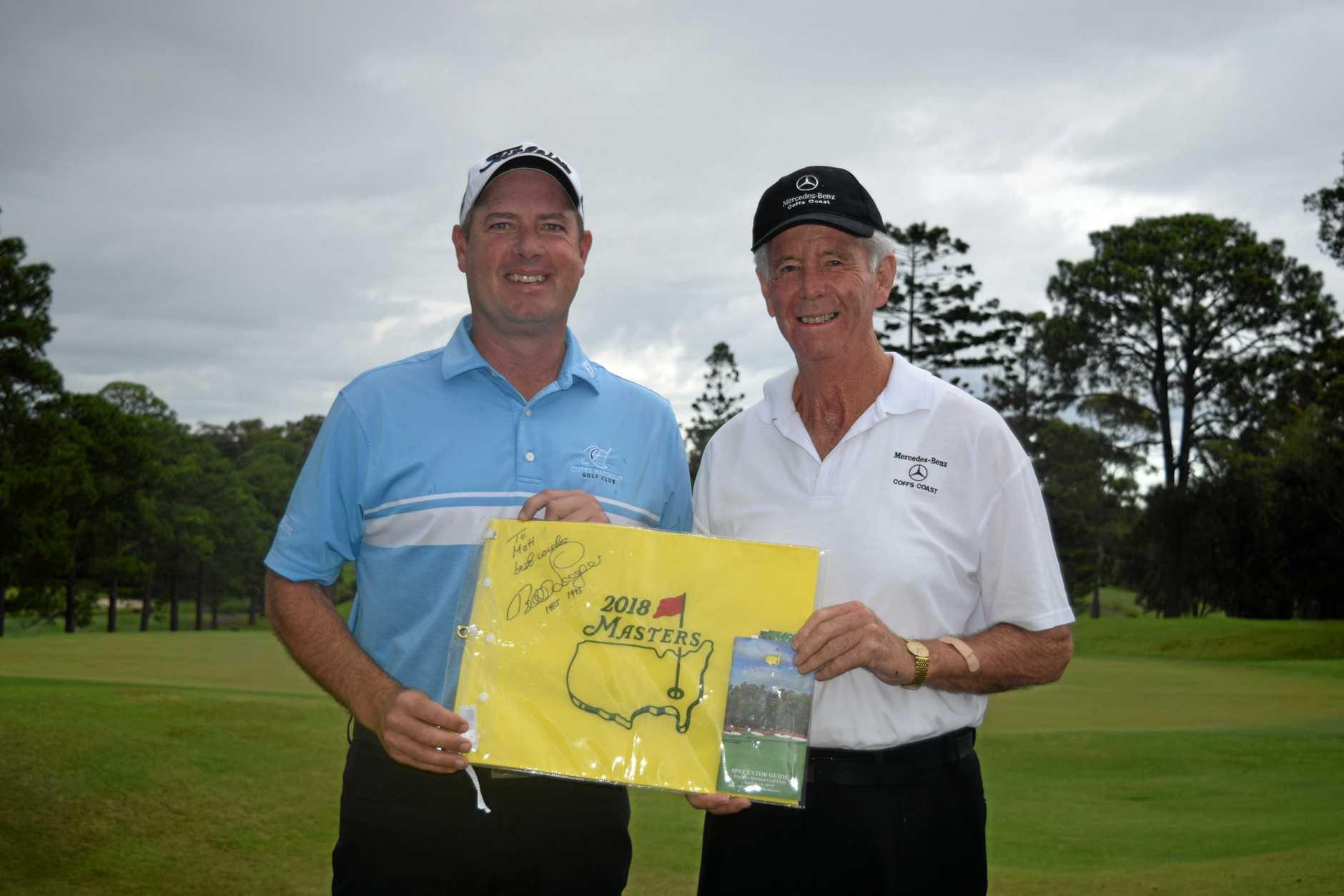 Mike Blewitt with Coffs Harbour Golf Club pro Matt Allan.