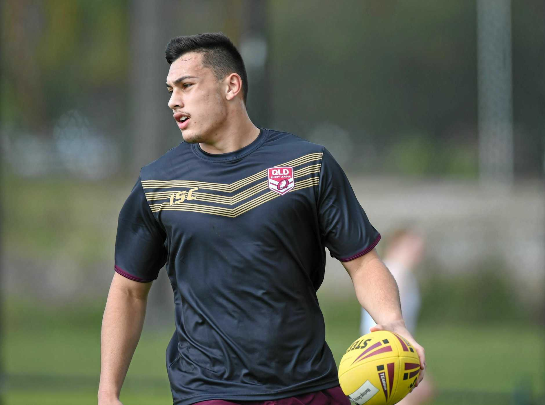 POWERHOUSE: Gympie's Tino Fa'asuamaleaui makes history as the Queensland secured their first win.