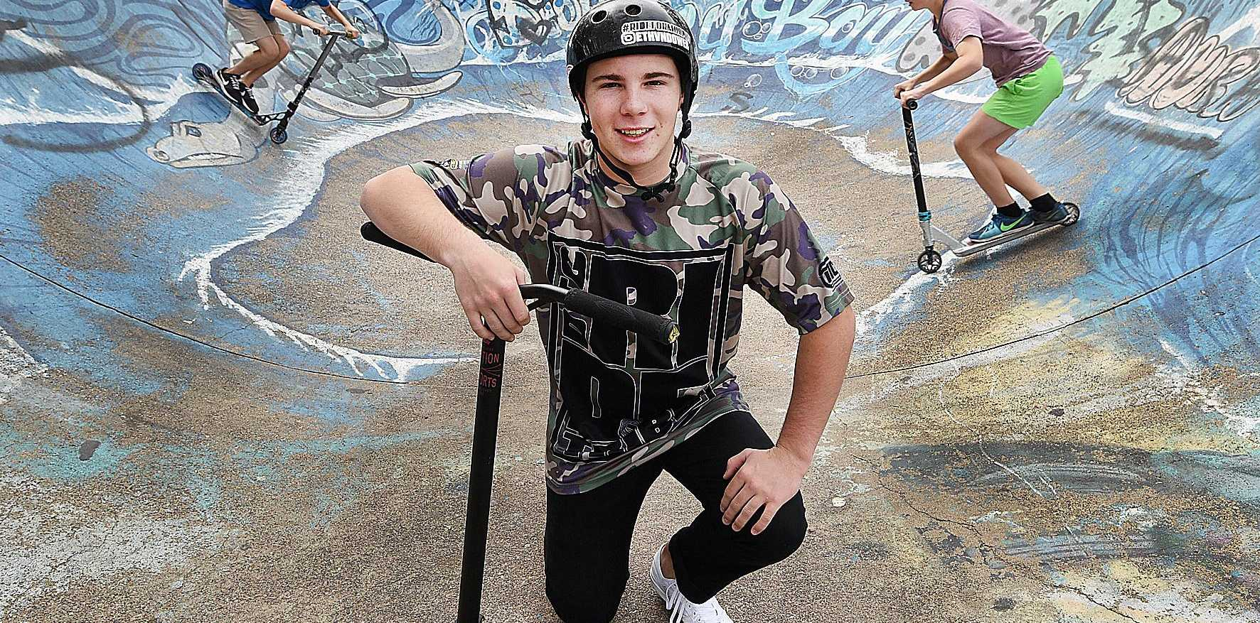 15 yr old Ethan Dower is looking forward to the new skate park on the Esplanade.