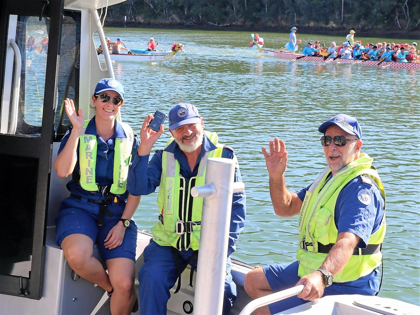 HELPING HAND: Ensuring safety at the annual Mullum to Brunswick Paddle race are Courtney Greenslade and Gary Pick along with skipper Jan Trueman.