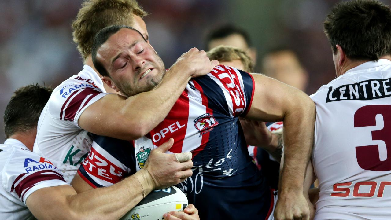 Boyd Cordner leads the Roosters into battle. Picture: Gregg Porteous.