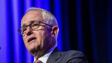 Prime Minister Malcolm Turnbull making an address at the Queensland Media Club at the Brisbane Convention and Exhibition Centre on Wednesday. Picture: AAP/Glenn Hunt