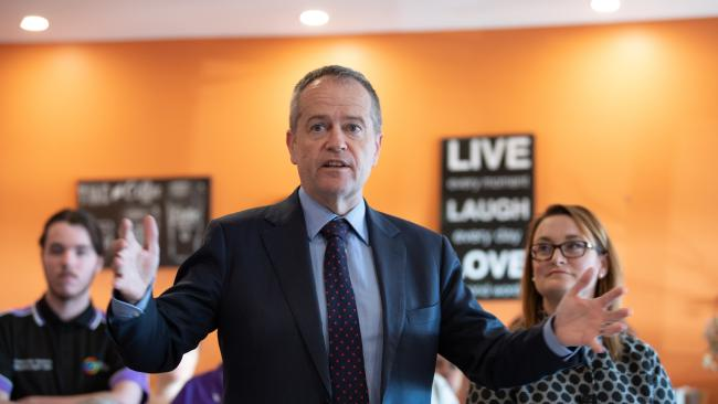 Opposition Leader Bill Shorten visiting the Meercroft Aged Care Home with the Labor candidate for Braddon Justine Keay (right) in Tasmania this week. Picture: AAP/Grant Wells