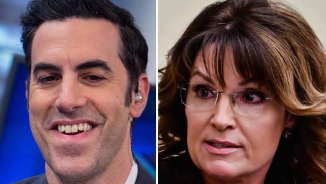 Sacha Baron Cohen and Sarah Palin. Picture: Getty