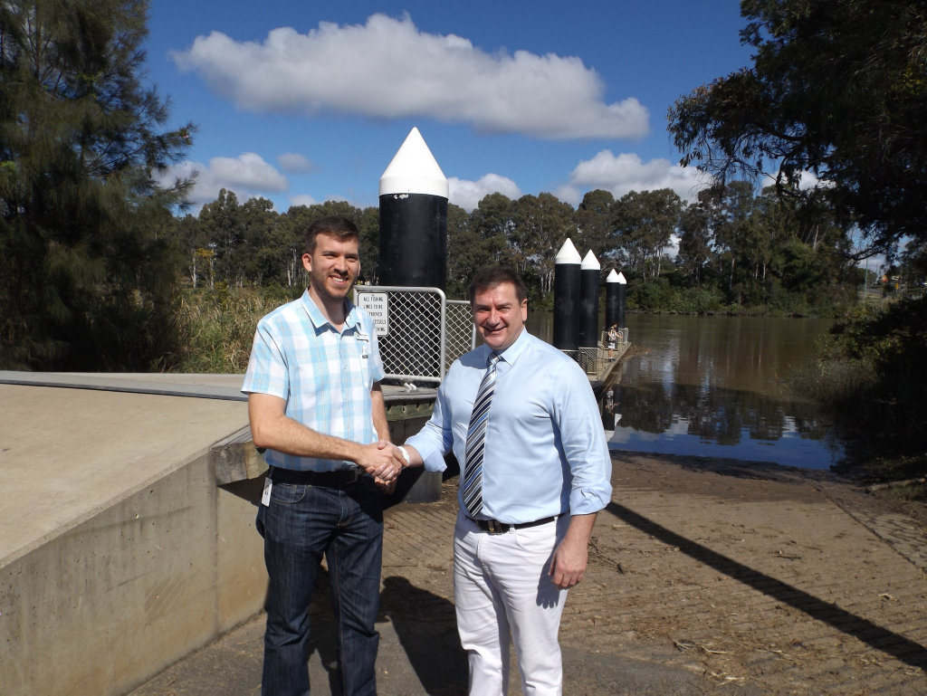 Councillor Paul Truscott and member for Wide Bay Llew O'Brien at the boat ramp near the Lamington Bridge.