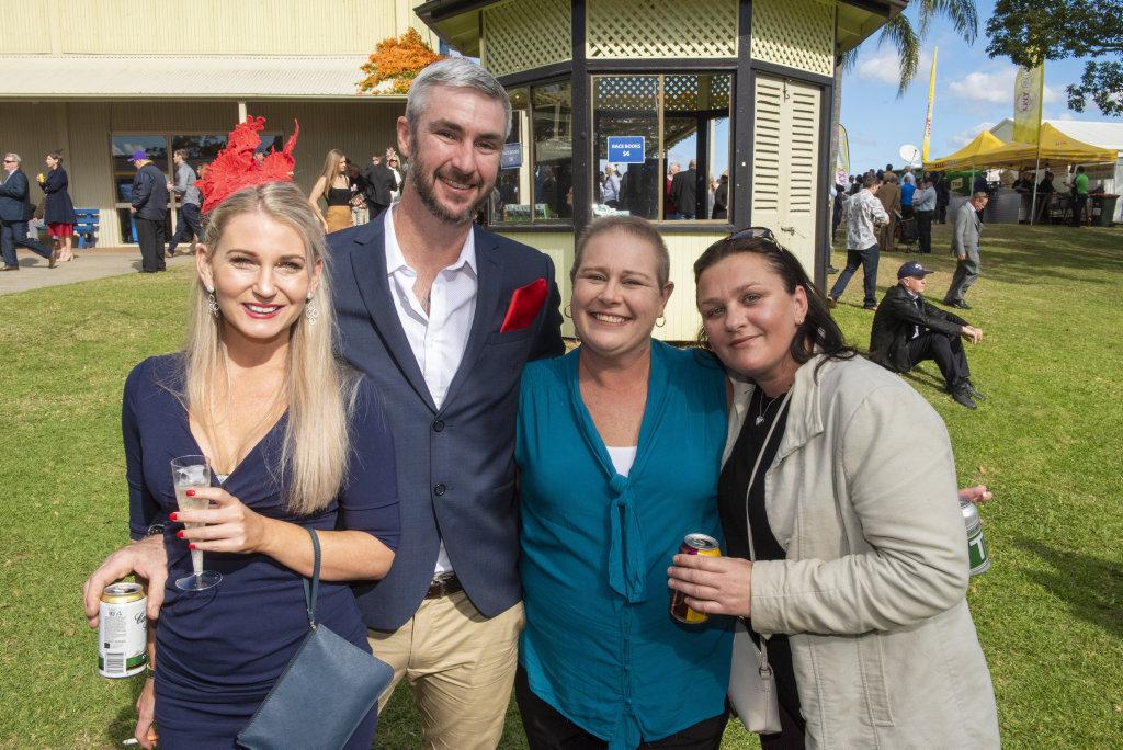 Kate Bryan, Paul Macdermott, Niomi Schrader and Nicky White enjoy Grafton Cup day.