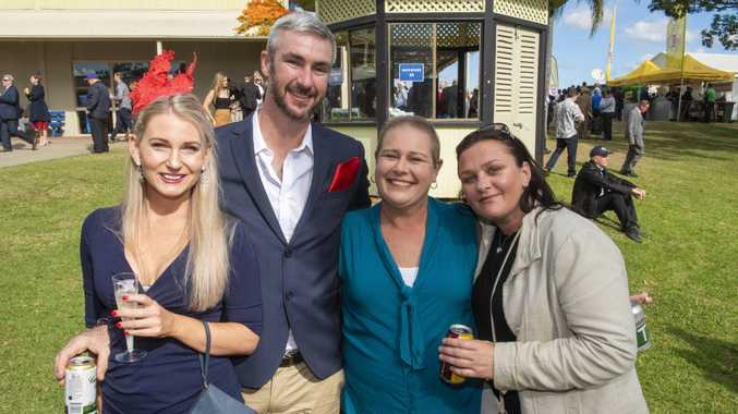 Kate Bryan, Paul Macdermott, Niomi Schrader and Nicky White enjoy Grafton Cup day.
