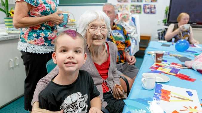 YOUNG AND OLD: Mary and Reef Little pictured at the first Arts 4 the Ages session in Proserpine.
