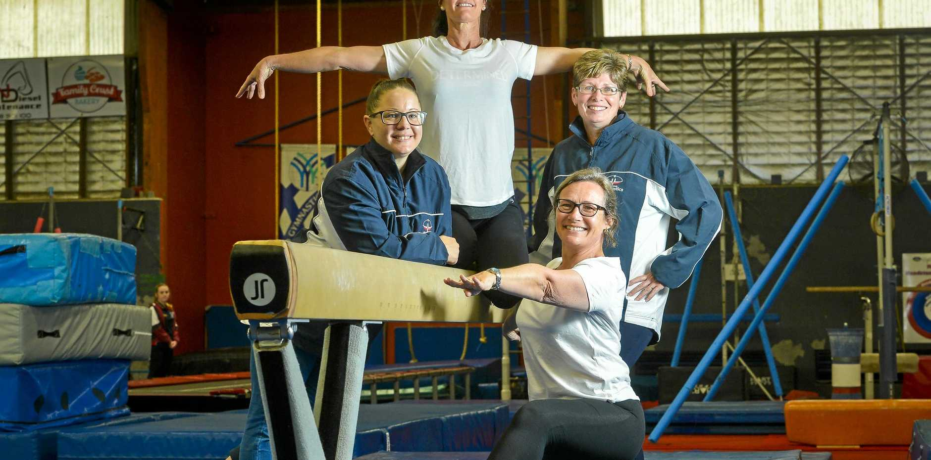 GYMNASTIC FLAIR: Kerry Morgan, Suzanne Neucom, Kate Townsend and Karen Parker will be competing at the 2018 Masters Gymnastics Competition in Gladstone on Sunday.