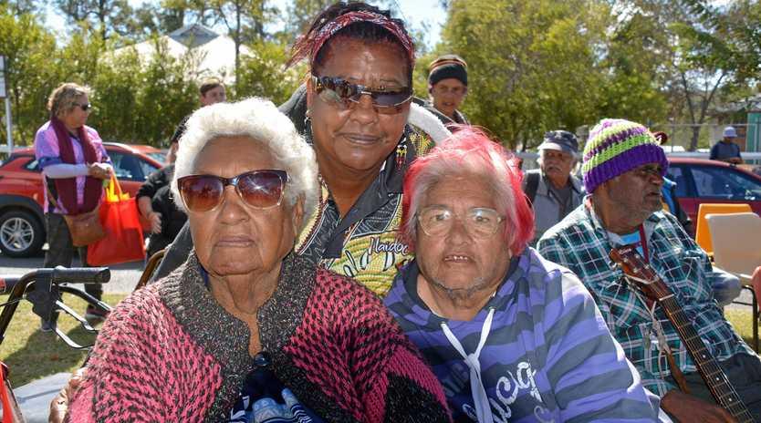 Bessie Bond, Dorothea Douglas and Rita Cobbo celebrating Naidoc Week in Cherbourg on July 10.