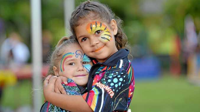 NAIDOC WEEK:  Olivia, 4, and Imahri McKellar, 5, at the Mater Hospital celebrations yesterday.