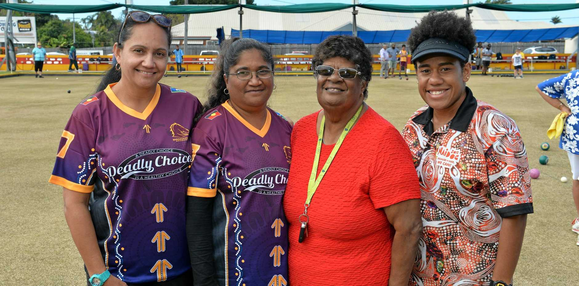 ON A ROLL: Sari Clark, Aunty Allannah Munro, Brenda Vegi and Athaliah Henaway at Mackay Bowling Club.