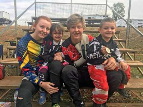 Taylor Kerr, Milly Oosen, Anthony Pendlebury and Dallas Oosen in Moranbah last month for Anthony's first competition back on the bike where he placed third.