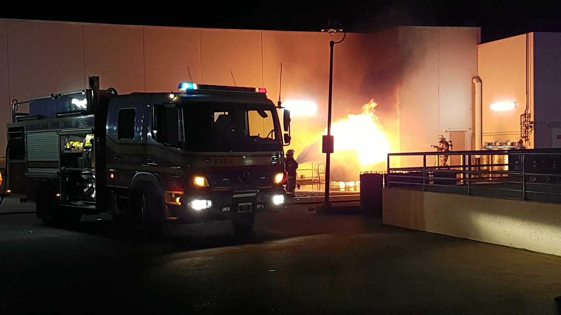 TERROR: Flames engulfed three industrial recycling bins full of cardboard in the car par of Rose City Shoppingworld last night.