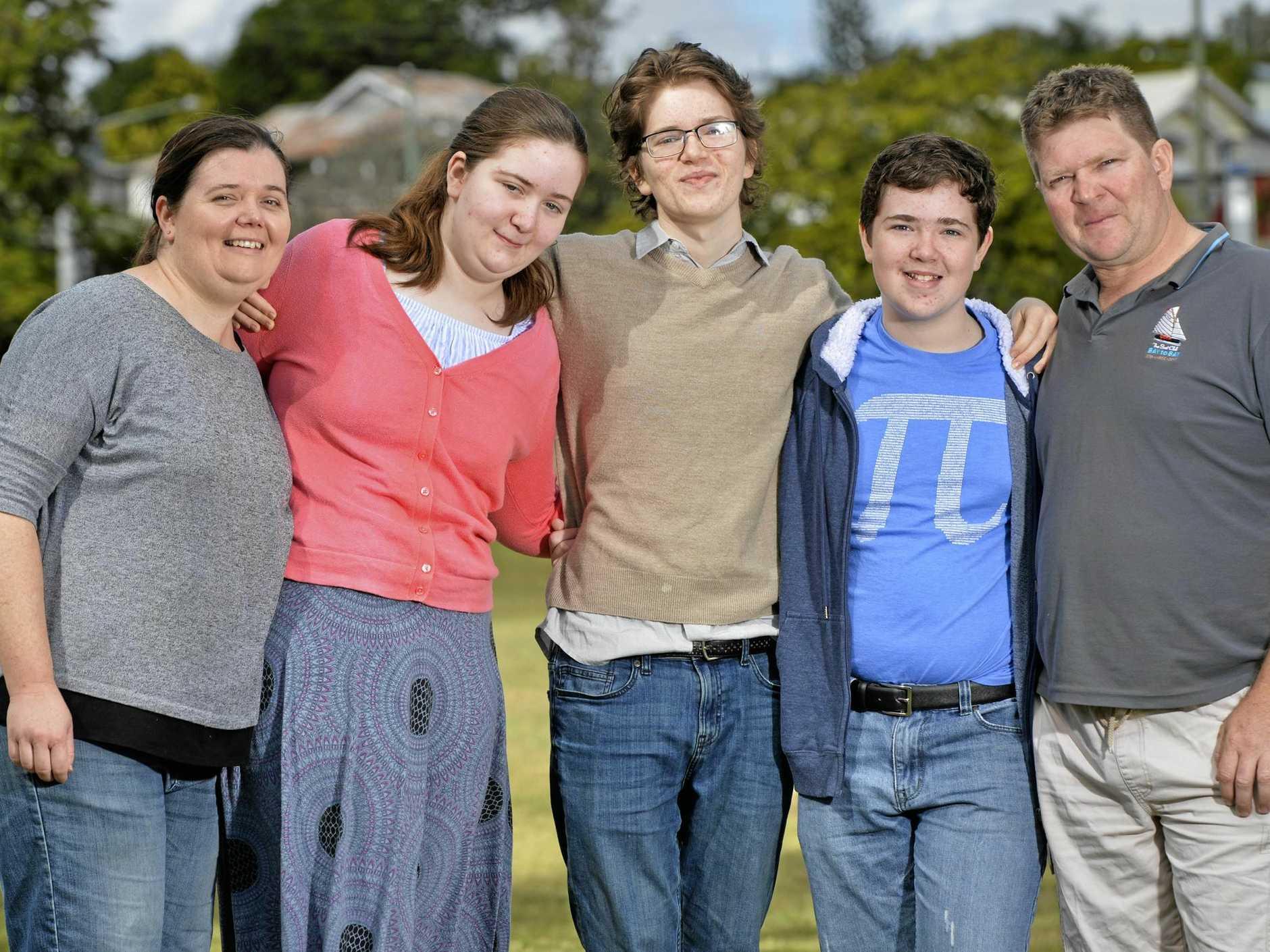 LUCKY FAMILY: McLeod family Kathy, Gemma, 14, Kieran, 16, Chris, 12 and Joseph get ready for the Walk 4 Brain Cancer in August.