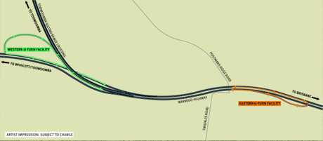 A design for the new turn areas on the Warrego Highway.