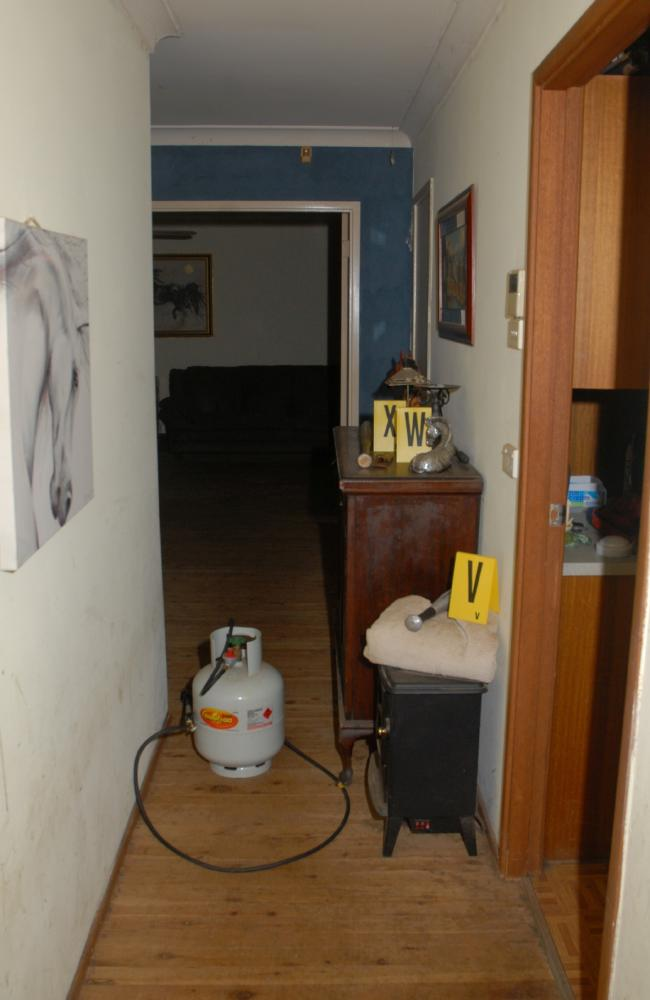 Crime scene photo inside the home of Fiona and Mitchell Barbieri after Bryson Anderson was murdered.
