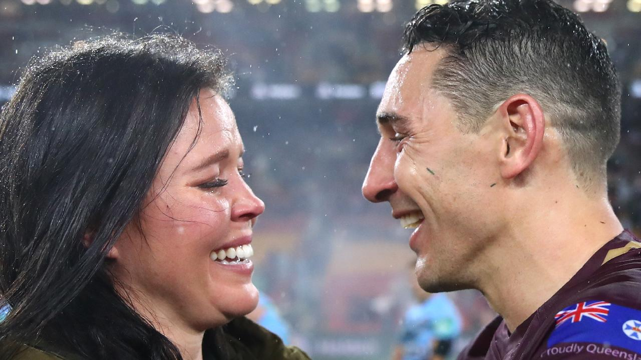 Billy Slater with his wife Nicole celebrates his last match for Queensland. (Photo by Cameron Spencer/Getty Images)