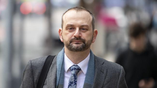 Former One Nation adviser Sean Black at the District Court in Brisbane on Tuesday. (AAP Image/Glenn Hunt)