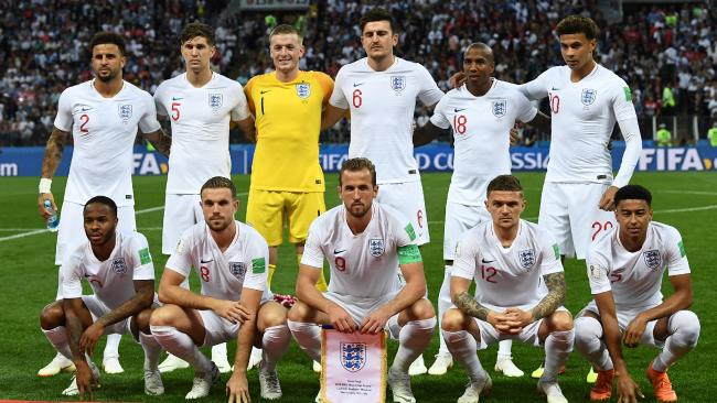 (Top L to R) England's defender Kyle Walker, England's defender John Stones, England's goalkeeper Jordan Pickford, England's defender Harry Maguire, England's defender Ashley Young, England's midfielder Dele Alli, (bottom L to R) England's forward Raheem Sterling, England's midfielder Jordan Henderson, England's forward Harry Kane, England's defender Kieran Trippier and England's midfielder Jesse