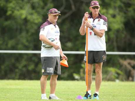 Kevin Walters with Wayne Bennett during his time at the Broncos.