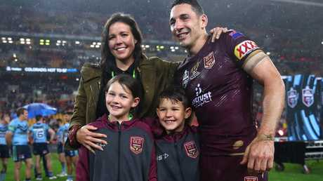 Billy Slater wioth Nicole and his sons after his final game for Queensland. (Photo by Cameron Spencer/Getty Images)