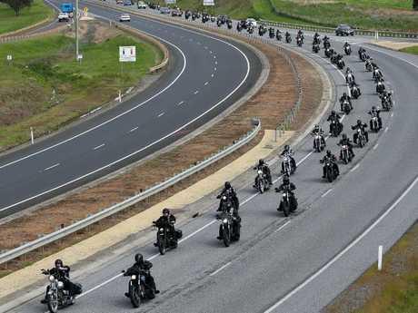 Rebels bikies on a ride in Tasmania.