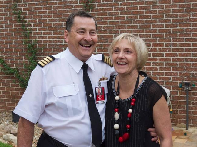 Co-pilot Ross Kelly, who recently retired as captain on the Airbus A380 with Qantas and is pictured with wife Lyndal, was also hurt in the crash. Picture: Facebook