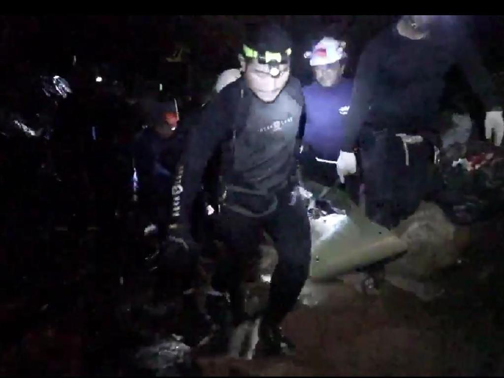 The rescue of the boys lost in the cave in Thailand. Picture: Thai Navy SEAL Facebook page
