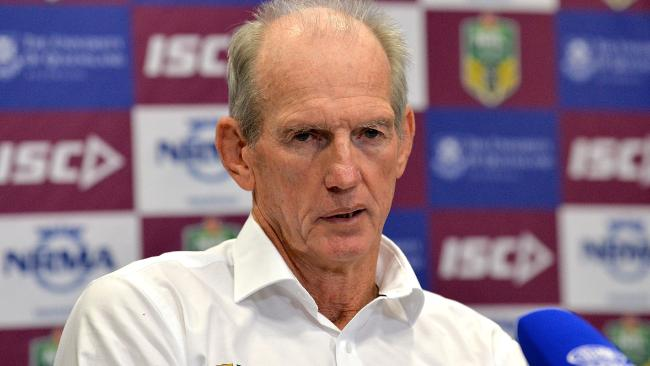 BRISBANE, AUSTRALIA - MAY 24: Coach Wayne Bennett of the Broncos talks at a press conference after the round 12 NRL match between the Brisbane Broncos and the Parramatta Eels at Suncorp Stadium on May 24, 2018 in Brisbane, Australia. (Photo by Bradley Kanaris/Getty Images)